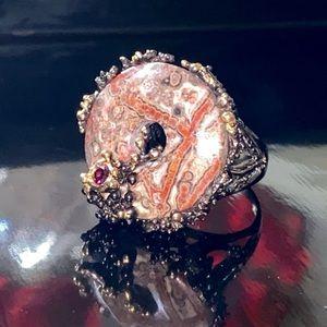 Fascinating Genuine 13 CT Jasper Rhodolite Ring